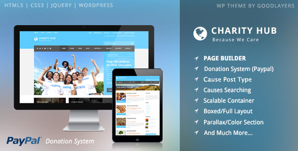 Download free Charity Hub v1.3.4 – Charity / Nonprofit / Fundraising WP