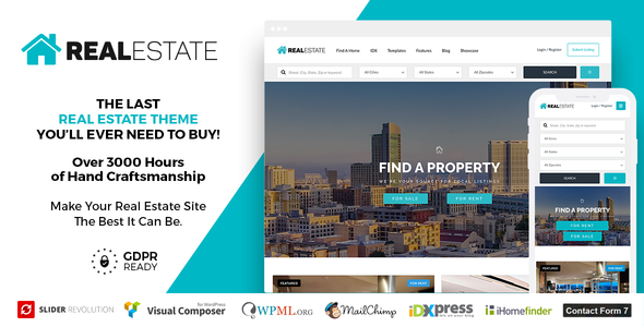 Download free Real Estate 7 v3.0 – Real Estate WordPress Theme