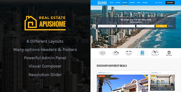 Download free ApusHome v1.7.9 – Real Estate WordPress Theme