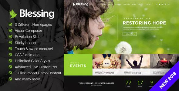 Download free Blessing v1.6.0 – Responsive Theme for Church Websites