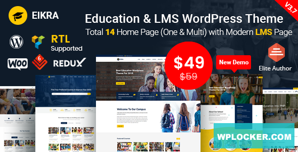 Download free Eikra Education v3.9 – Education WordPress Theme