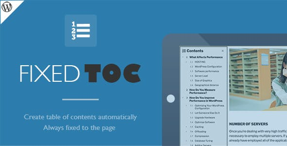 Download free Fixed TOC v3.1.18 – table of contents for WordPress plugin