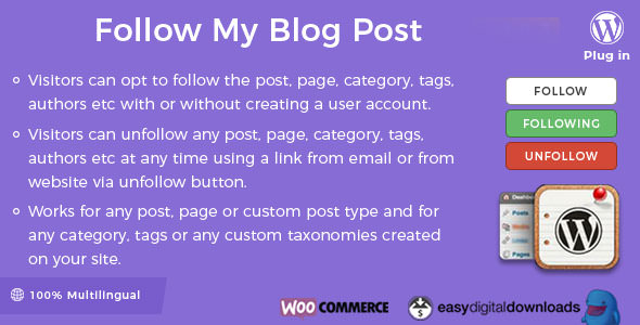 Download free Follow My Blog Post WordPress Plugin v2.0.2
