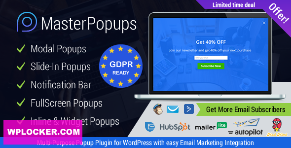 Download free Master Popups v3.4.4 – Popup Plugin for Lead Generation