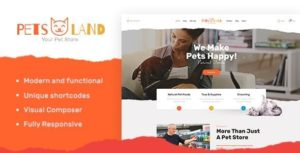 Download free Pets Land v1.2.1 – Domestic Animals Shop & Veterinary WordPress Theme