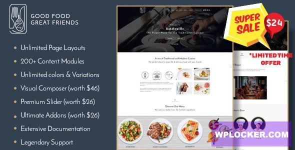 Download free Ratatouille v1.2.0 – Restaurant WordPress Theme