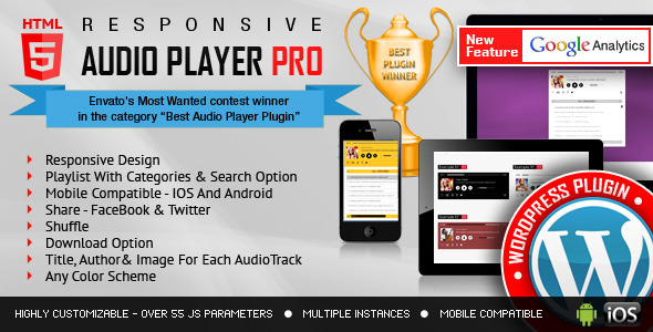 Download free Responsive HTML5 Audio Player PRO v2.8.0 – WordPress Plugin
