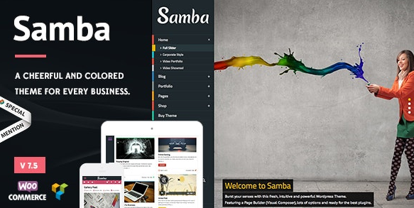 Download free Samba v7.5 – Colored WordPress Theme