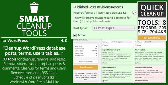 Download free Smart Cleanup Tools v4.9 – Plugin for WordPress