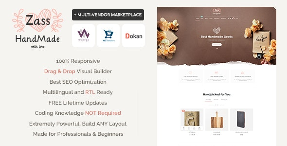 Download free Zass v3.7.6 – WooCommerce Theme for Handmade Artists and Artisans