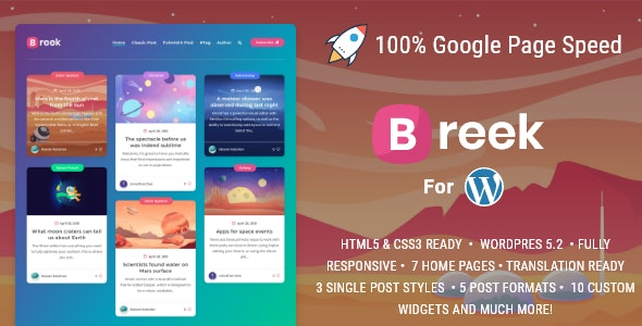 Download free Breek v3.5.2 – Minimal Masonry Theme for WordPress