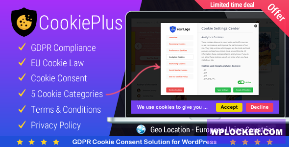 Download free Cookie Plus v1.4.7 – GDPR Cookie Consent Solution