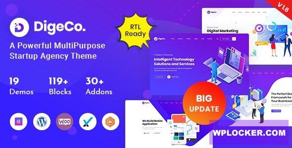 Download free Digeco v1.6 – Startup Agency WordPress Theme