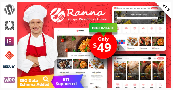 Download free Ranna v1.2.8 – Food & Recipe WordPress Theme