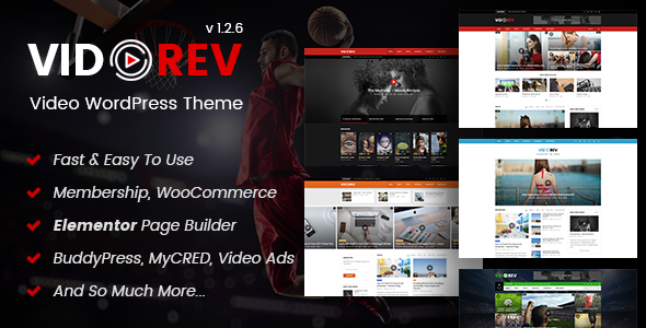 Download free VidoRev v2.9.9.9.6.6 – Video WordPress Theme