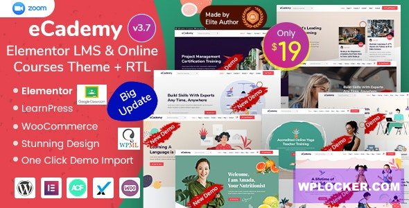 Download free eCademy v3.7 – Elementor LMS & Online Courses Theme