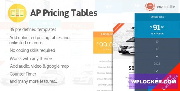 Download free AP Pricing Tables v1.0.3 – Responsive Pricing Table Builder Plugin for WordPress