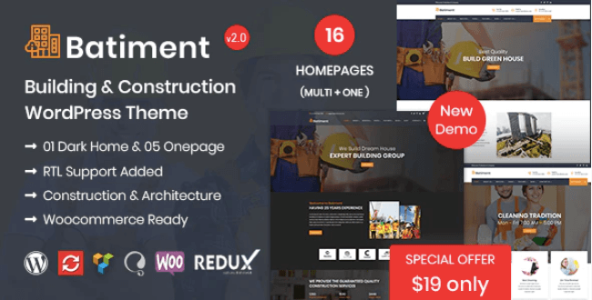 Download free Batiment v1.9 – A Construction and Building WordPress Theme