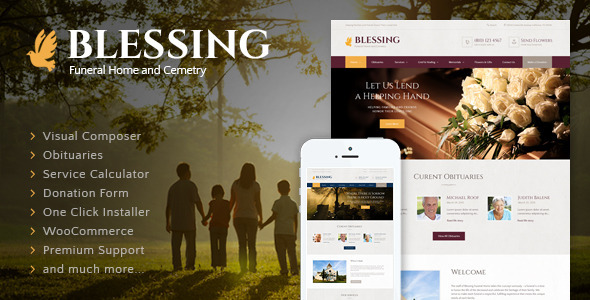 Download free Blessing v3.2.2 – Funeral Home WordPress Theme