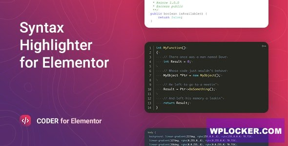 Download free Coder v1.0.4 – Syntax Highlighter for Elementor