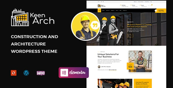 Download free Keenarch v1.0 – Building & Construction WordPress Theme