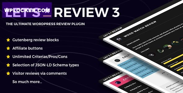 Download free Let's Review v3.2.3 – WordPress Plugin With Affiliate Options