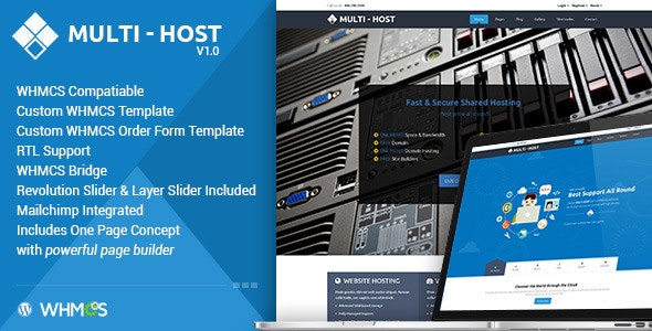 Download free Multi Hosting v2.2 – WHMCS WordPress Theme