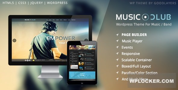Download free Music Club v1.8.1 – Band | Party WordPress