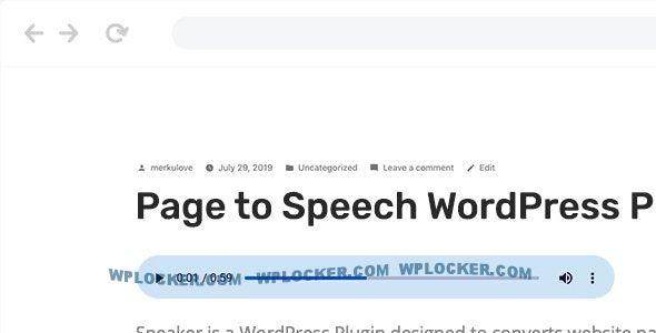 Download free Speaker v3.0.5 – Page to Speech Plugin for WordPress