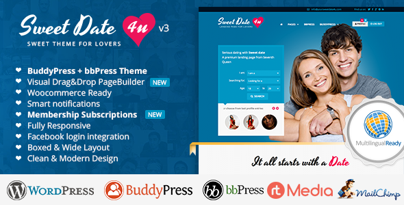 Download free Sweet Date v3.5.1 – More than a WordPress Dating Theme