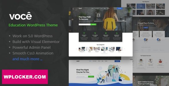Download free Vocee v1.1 – Education & LMS WordPress Theme