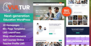 Download free Vultur v1.1.0 – Coach Online Courses & LMS Education WordPress