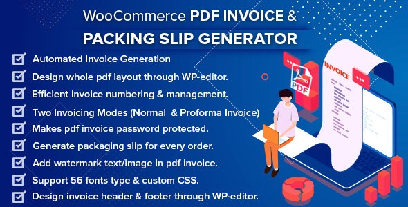 Download free WooCommerce PDF Invoice & Packing Slip Generator v1.4.0