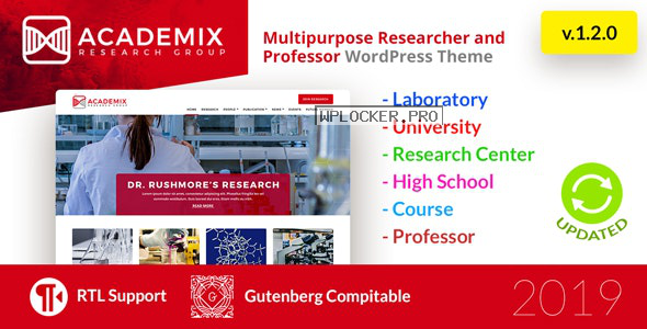 Academix v1.2.1 – Multipurpose Education, Researcher and Professor WordPress Theme