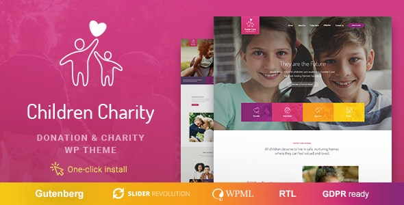 Download free Children Charity v1.1.0 – Nonprofit & NGO WordPress Theme with Donations