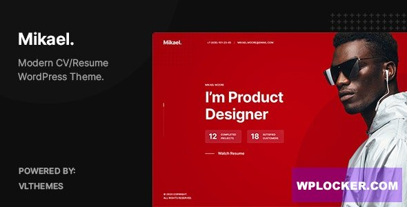 Download free Mikael v1.0.1 – Modern & Creative CV/Resume WordPress Theme