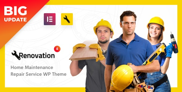 Download free Renovation v4.1.5 – Repair Service, Home Maintenance Elementor WP Theme