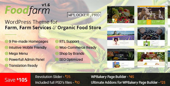 FoodFarm v1.8.6 – WordPress Theme for Farm