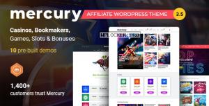 Mercury v3.5.1 – Gambling & Casino Affiliate WordPress Theme. News & Reviews