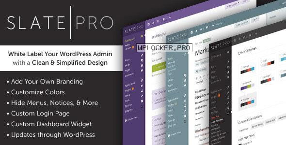 Slate Pro v1.1.9 – A White Label WordPress Admin Theme
