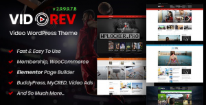 VidoRev v2.9.9.9.7.8 – Video WordPress Theme