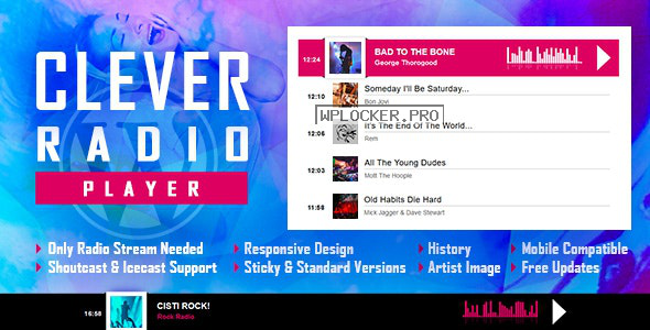 CLEVER v1.7.0 – HTML5 Radio Player With History – Shoutcast and Icecast – WordPress Plugin