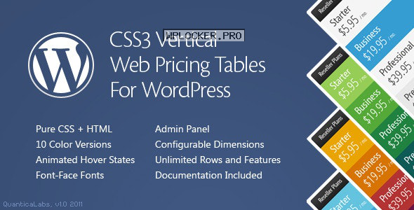 CSS3 Vertical Web Pricing Tables For WordPress v1.8