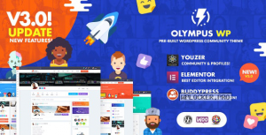 Olympus v3.9.3 – Powerful BuddyPress Theme for Social Networking