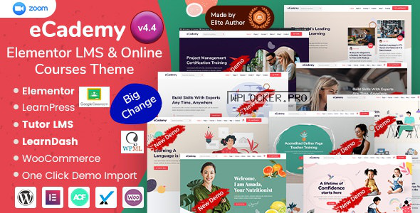 eCademy v4.4 – Elementor LMS & Online Courses Theme