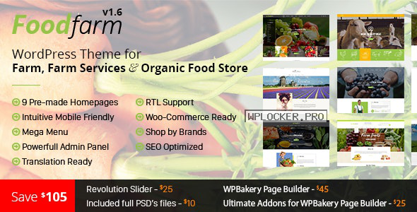 FoodFarm v1.8.7 – WordPress Theme for Farm