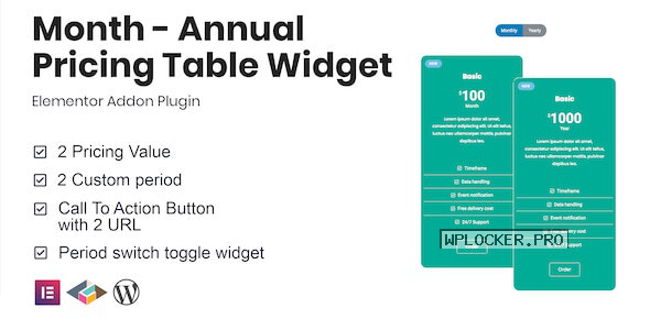 Month v1.0.0 – Annual Pricing Table Widget For Elementor