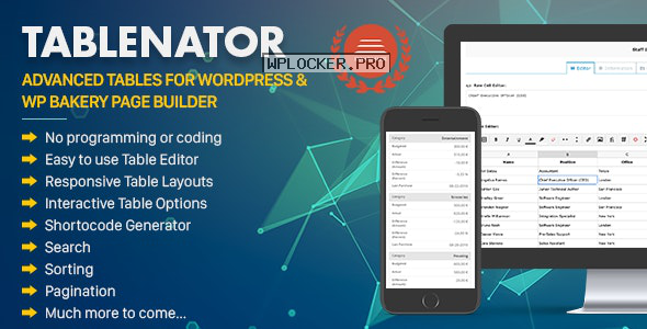 Tablenator v2.1.6 – Advanced Tables for WordPress