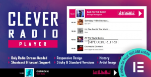 CLEVER v1.4 – HTML5 Radio Player With History – Shoutcast and Icecast – Elementor Widget Addon