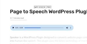 Speaker v3.2.5 – Page to Speech Plugin for WordPress